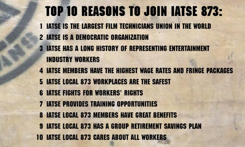 Top 10 Reasons to Join IATSE 873